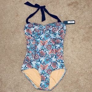 •DOWNEAST• NWT Mosaic Floral Halter Top One-Piece
